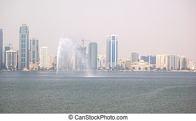 The view on Sharjah fountain and man-made lake, Sharjah, UAE
