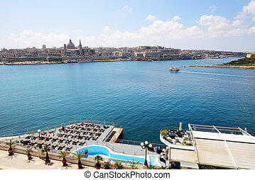 The view on Valletta and cruise yacht with tourists, Sliema, Malta