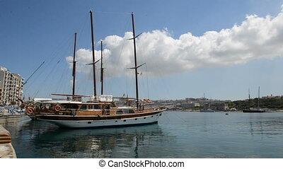 The view on Valletta and sail yacht, Sliema, Malta