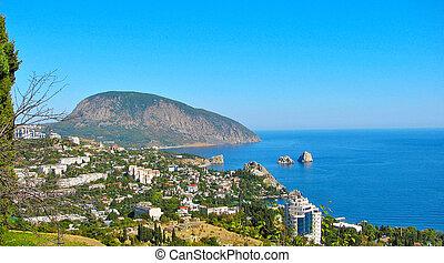The village and the mountain Gurzuf Ayu-Dag (Crimea)