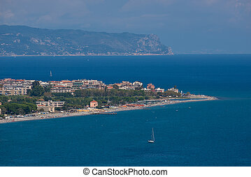 The village of Albenga and Capo Noli seen from a view point ...