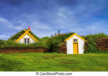 The village of ancestors in Iceland. The recreated village -...