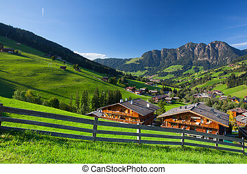 The village of Inneralpbach in Alpbach Valley, Austria, ...