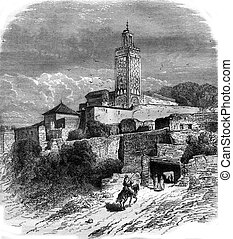 The Village of Sidi Bou Medina, Algeria, vintage engraving....