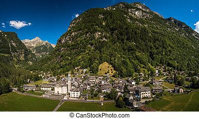 The Village of Sonogno in Verzasca Valley near Locarno, Ticino Canton, Switzerland - aerial panorama image