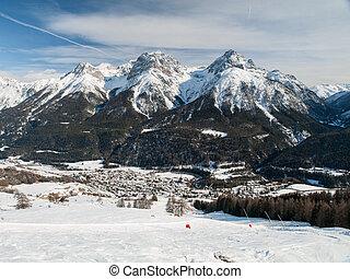 The village Scuol in Swiss Alps, Graubunden, Switzerland