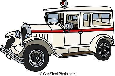 The vintage ambulance