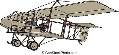 The vintage beige biplane