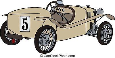 The vintage beige racecar