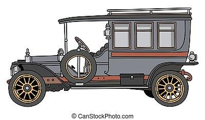 The vintage blue bus