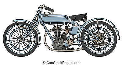 The vintage blue motorcycle