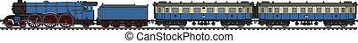 The vintage blue passenger steam train