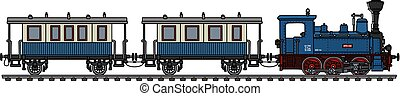 The vintage blue personal small steam train