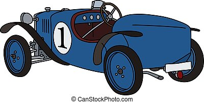 The vintage blue racecar