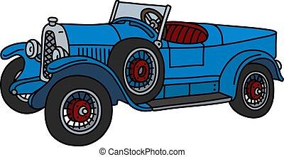 The vintage blue roadster