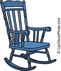 The vintage blue rocking chair