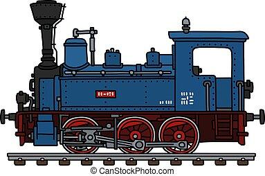 The vintage blue small steam locomotive