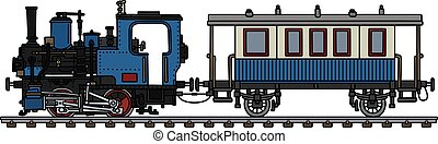 The vintage blue small steam train