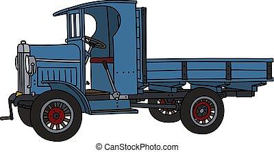 The vintage blue truck