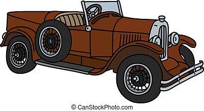 The vintage brown roadster