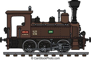 The vintage brown small steam locomotive