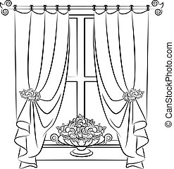 The vintage curtain with flowers. Vector