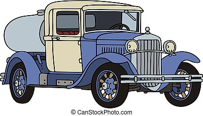 The vintage dairy tank truck - The vectorized hand drawing...