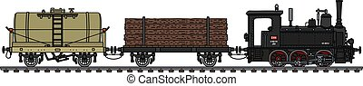 The vintage freight small steam train
