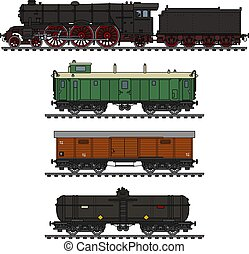 The vintage freight steam train
