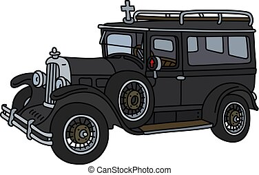 The vintage funeral car