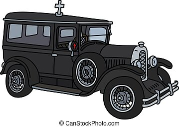 The vintage funeral car - The vector illustration of a...