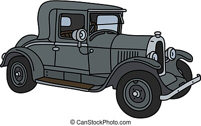 The vintage gray coupe - The vector illustration of a...