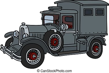 The vintage gray truck