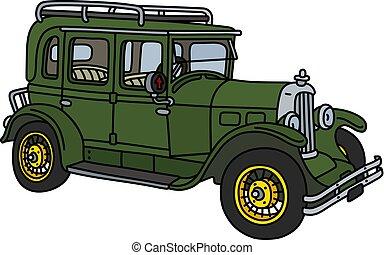 The vintage green car