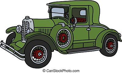 The vintage green car - The vector illustration of a vintage...