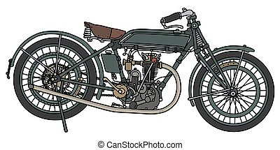 The vintage green motorcycle