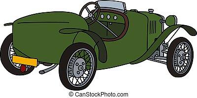 The vintage green roadster