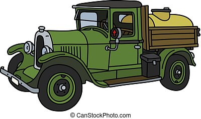 The vintage green tank truck - The vector illustration of a...