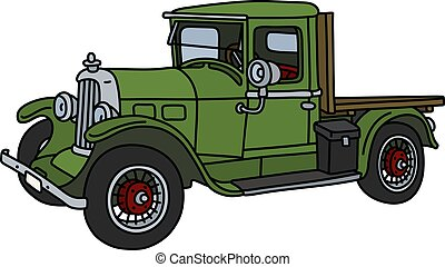 The vintage green truck