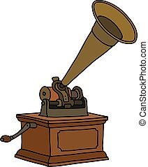 The vintage horn gramophone