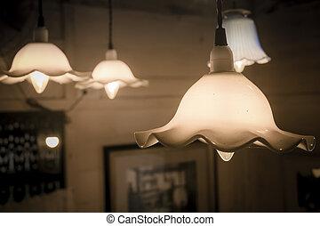 The vintage light bulb hanging decoration