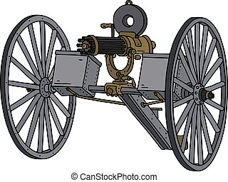 The vintage machine gun - The vectorized hand drawing of an ...