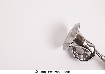The vintage manual air horn on white background.
