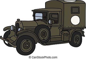 The vintage military ambulance