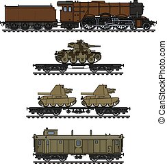 The vintage military steam train