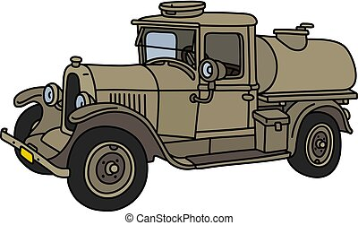 The vintage military tank truck - The vector illustration of...