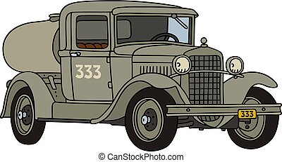 The vintage military tank truck - The vectorized hand...