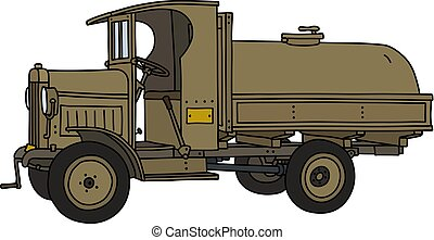 The vintage military tank truck