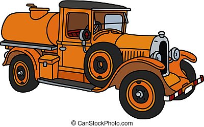 The vintage orange tank truck - The vector illustration of a...