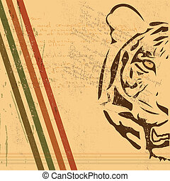 vintage paper background with tiger burnt paper - the...